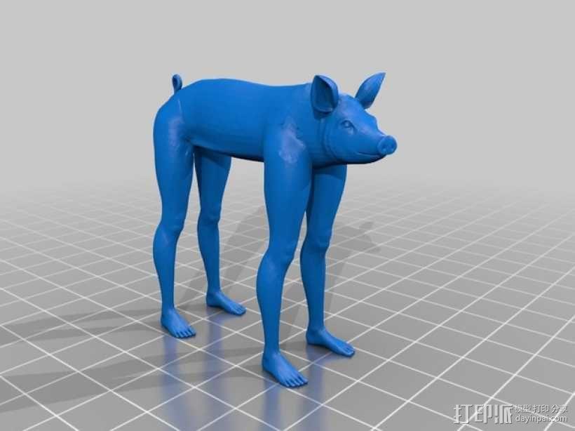 长腿猪模型 3D模型  图1