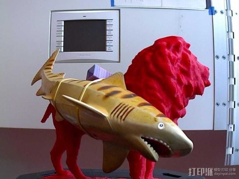 狮子与鲨鱼 3D模型  图1