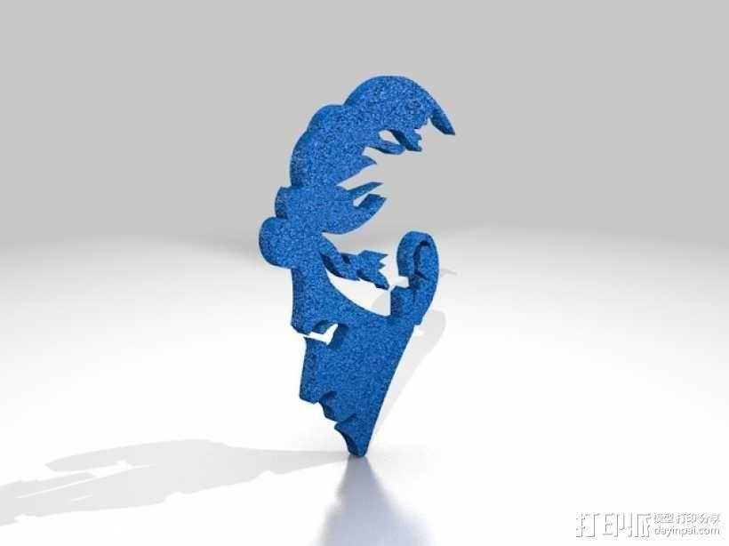 Bowie人头像3D涂鸦模型 3D模型  图1