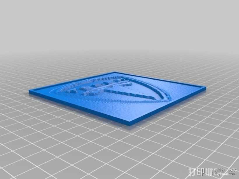 特斯拉汽车标志透光浮雕 3D模型  图1