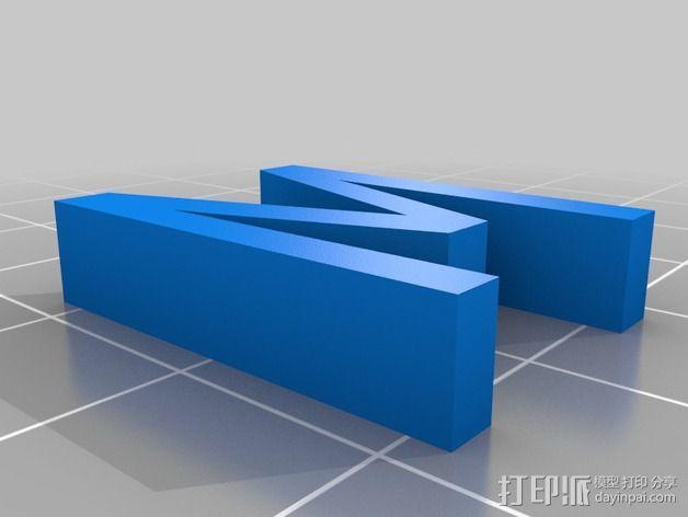 立体字母M 3D模型  图2