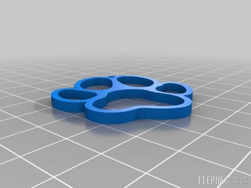 小狗脚印吊坠 3D模型  图1
