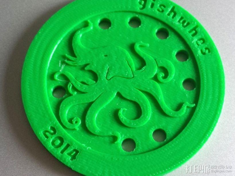 大象章鱼标志徽章 3D模型  图1