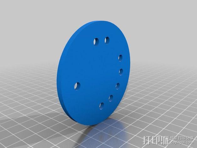 大象章鱼标志徽章 3D模型  图2