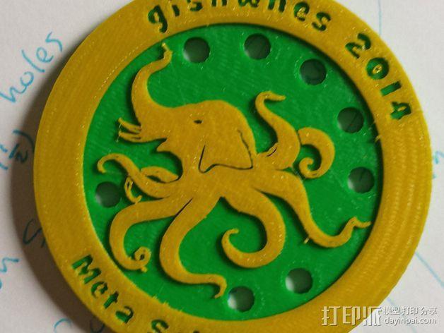大象章鱼标志徽章 3D模型  图3