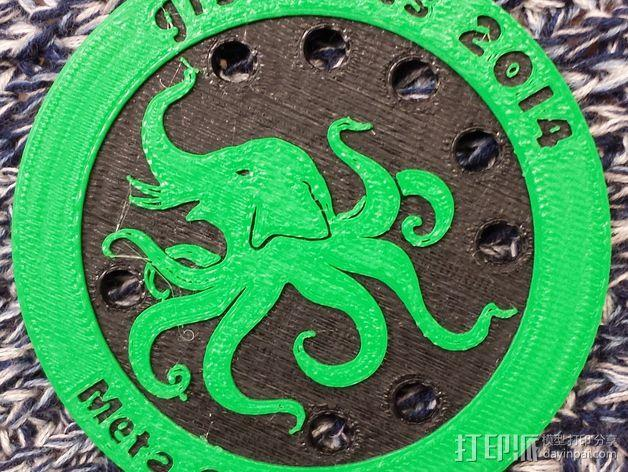大象章鱼标志徽章 3D模型  图4