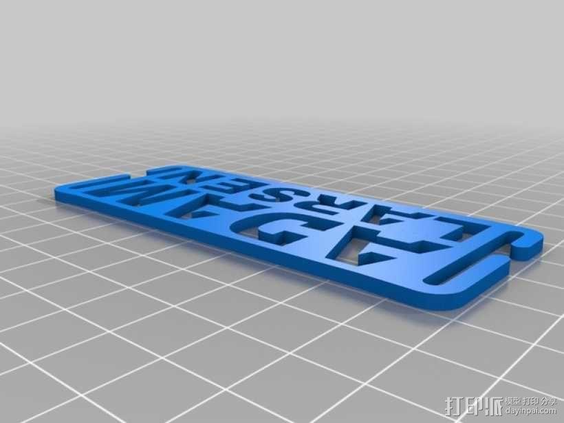 姓名牌  3D模型  图1