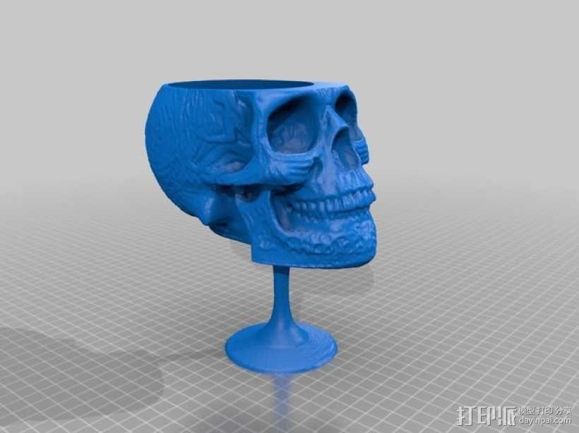 骷髅红酒杯 3D模型  图1