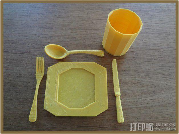 餐具 餐盘 杯子 3D模型  图1
