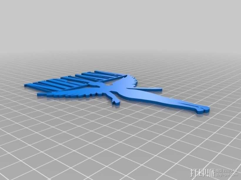 天使标志 3D模型  图2