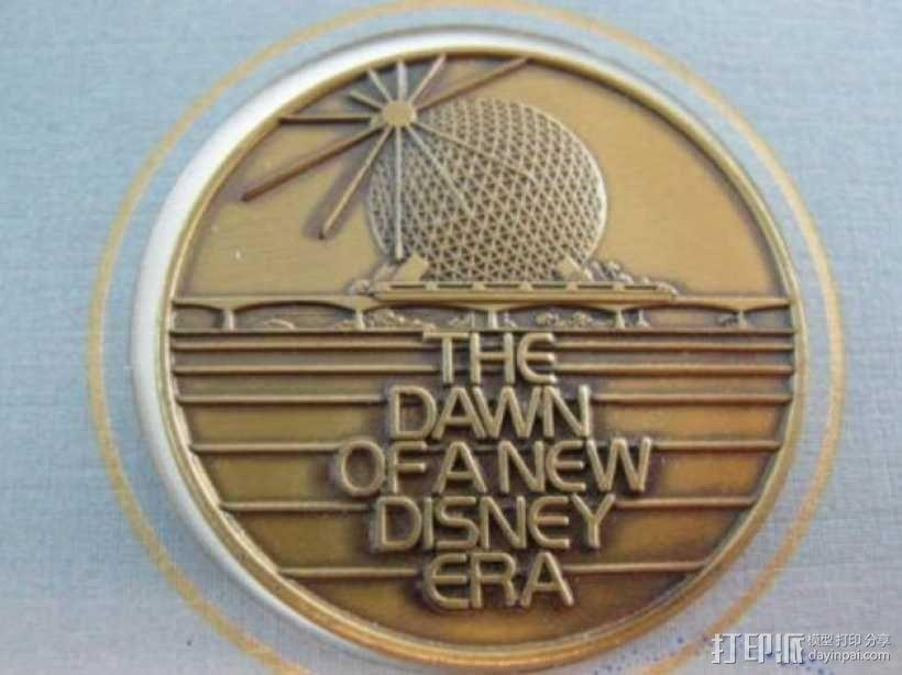 迪士尼未来世界纪念币 3D模型  图1