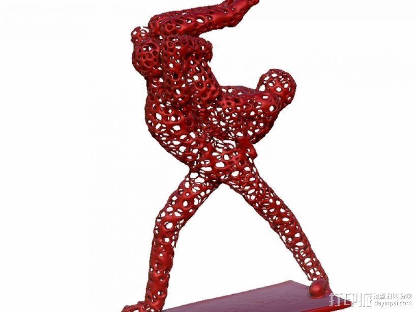 泰森多边形风格的舞者 3D模型  图3
