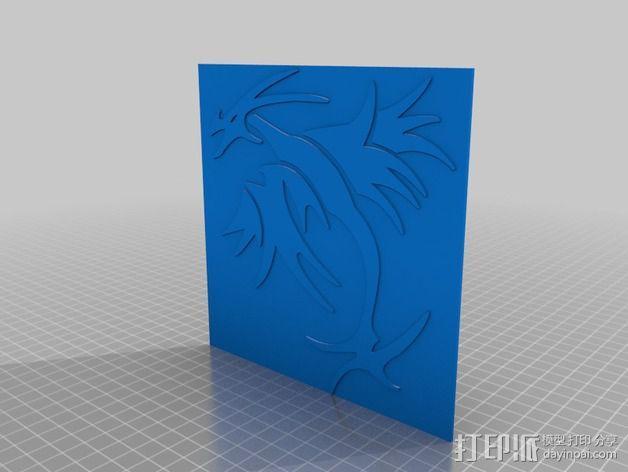 龙型图案3 3D模型  图2