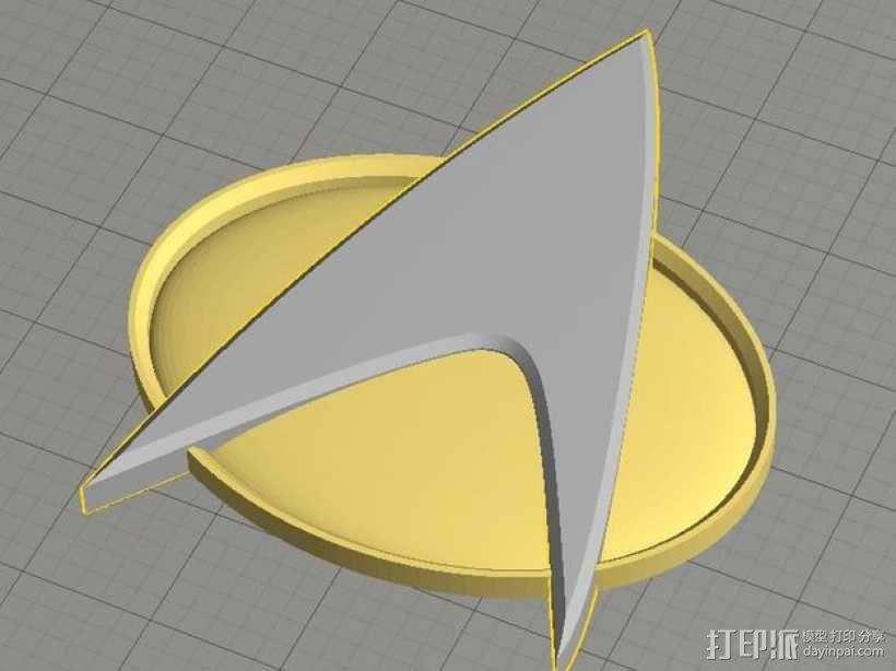 《星际迷航》通信徽章 3D模型  图1