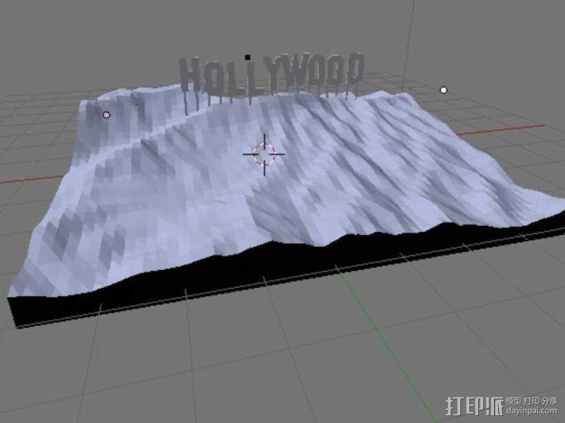 好莱坞山丘地形图  3D模型  图3