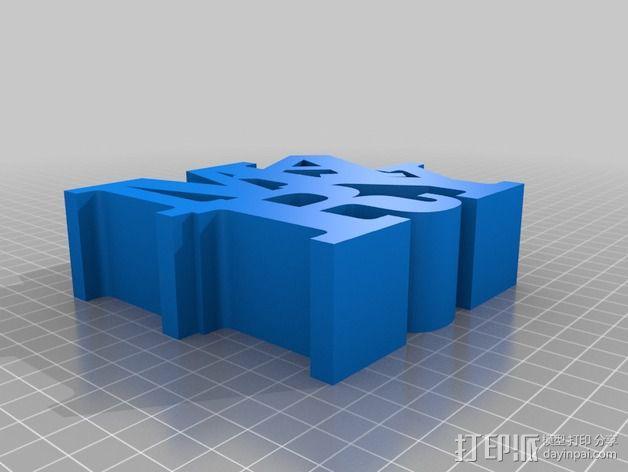 Mary 字母雕塑 3D模型  图2