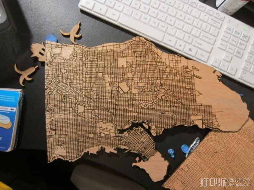 激光雕刻木质地图 3D模型  图1