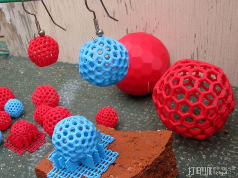 碳240原子球型耳环 3D模型  图1