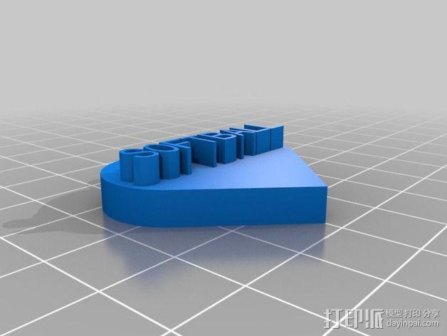 SOFTBALL 心形底座打印 3D模型  图1
