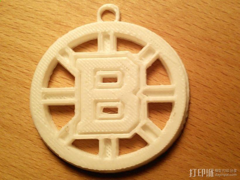波士顿棕熊队标志钥匙扣 3D模型  图1