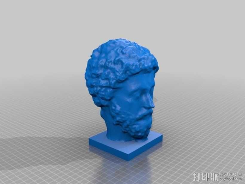 马可·奥里利乌斯 头像 3D模型  图1