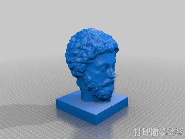 马可·奥里利乌斯 头像 3D模型  图2