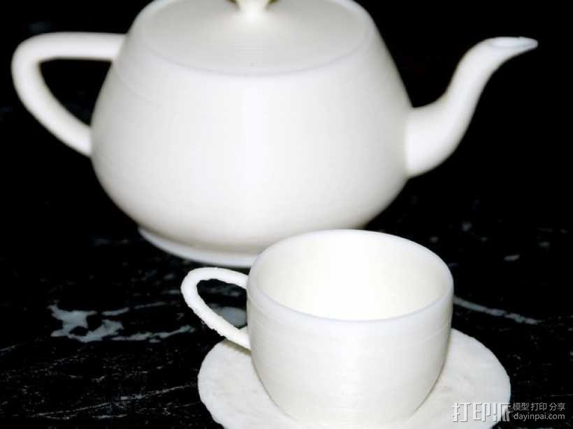 犹他茶杯 杯垫 3D模型  图1