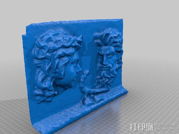 萨堤尔和西勒诺斯 古罗马雕塑 3D模型  图2