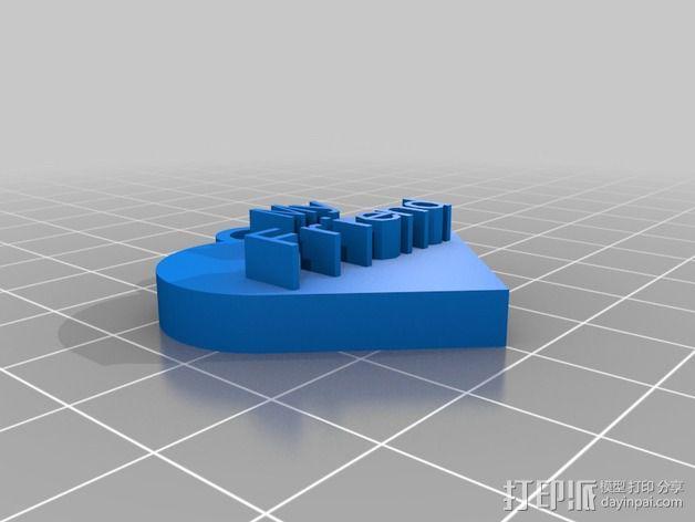 定制心形吊坠 3D模型  图3