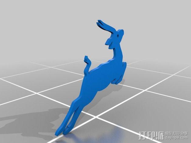 鹿 装饰品 3D模型  图2