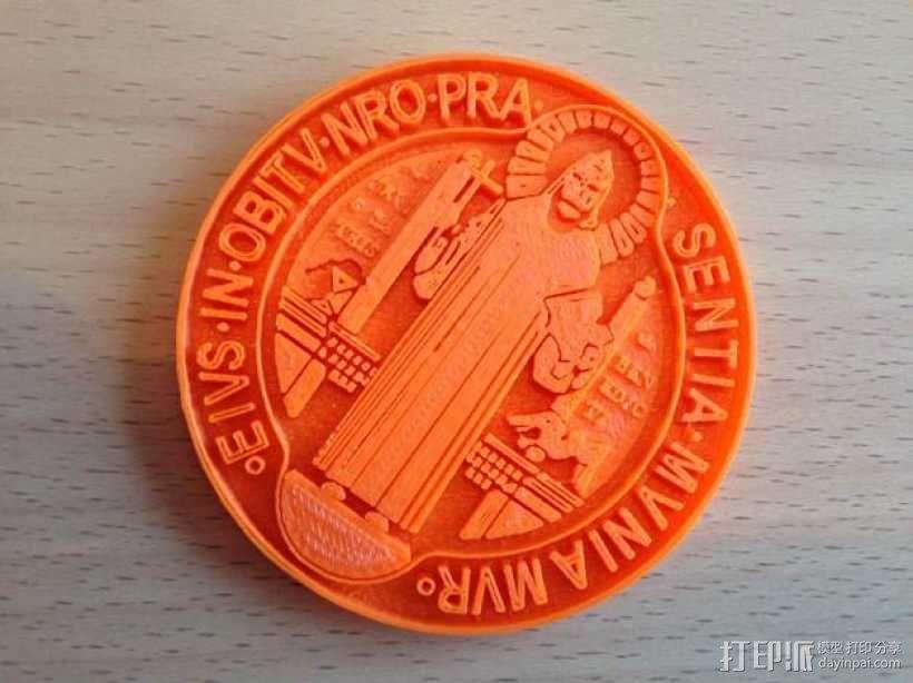 圣本笃 纪念章 3D模型  图1