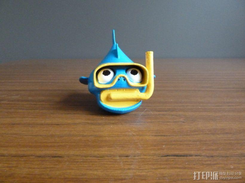 潜水的小鱼 玩偶 3D模型  图1