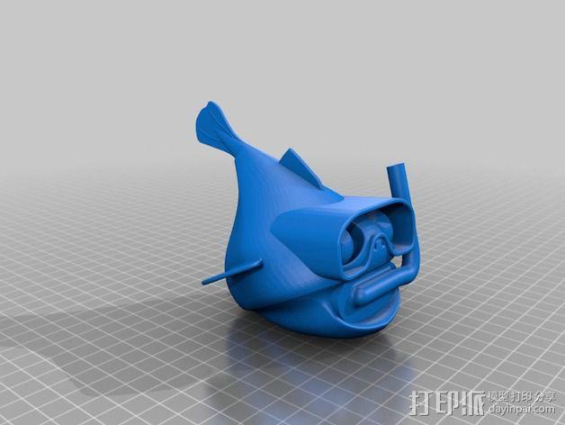 潜水的小鱼 玩偶 3D模型  图2