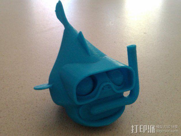 潜水的小鱼 玩偶 3D模型  图4