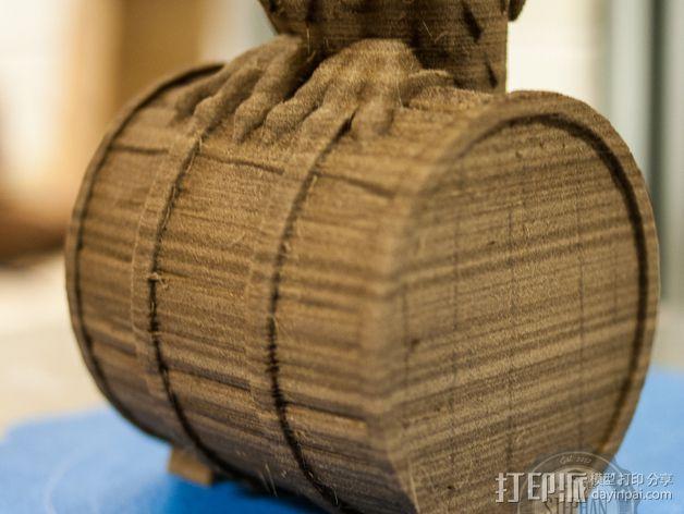 站在木桶上的猫头鹰 3D模型  图3