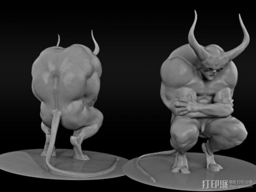 沉思的恶魔 3D模型  图1
