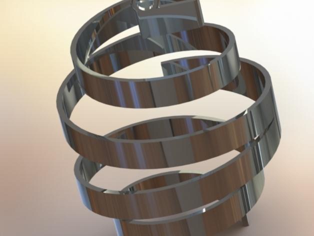螺旋式圣诞装饰品 3D模型  图2