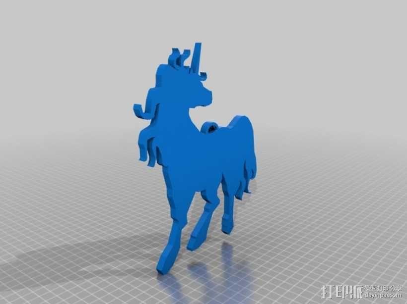 独角兽吊坠 3D模型  图1