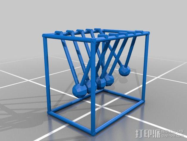 牛顿摆桌面游戏 3D模型  图3