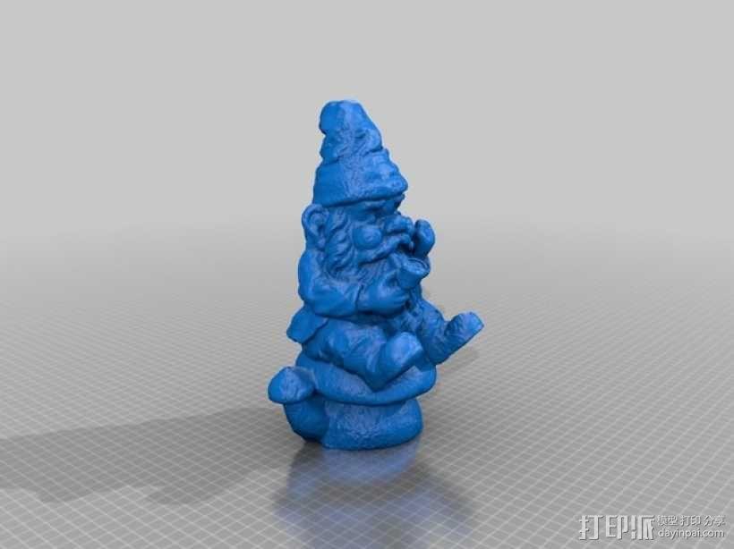 坐在蘑菇上的小矮人 3D模型  图1