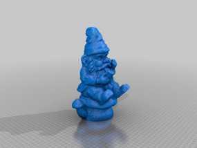 坐在蘑菇上的小矮人 3D模型