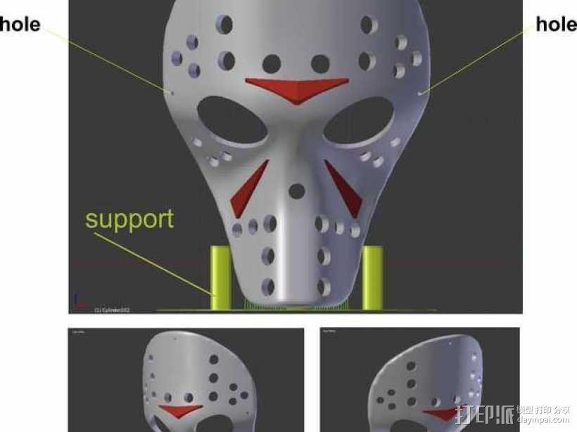 狗狗面具 3D模型  图1