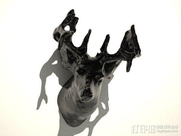 鹿头 装饰品 3D模型  图3
