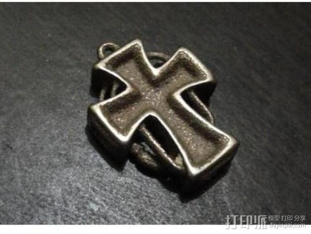 朋克风 十字架吊坠 3D模型  图4
