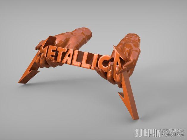 金属乐队 Metallica 标志 3D模型  图1