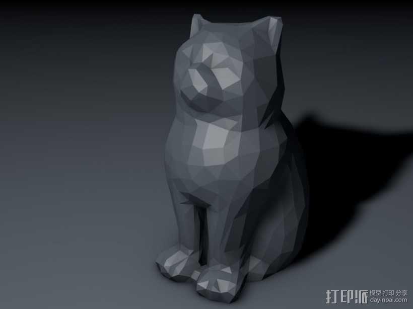 低聚镭射猫 3D模型  图1