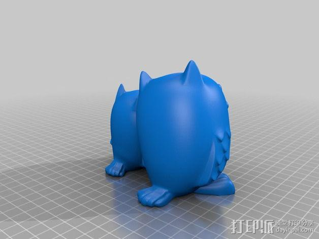 依偎着的猫头鹰 3D模型  图2