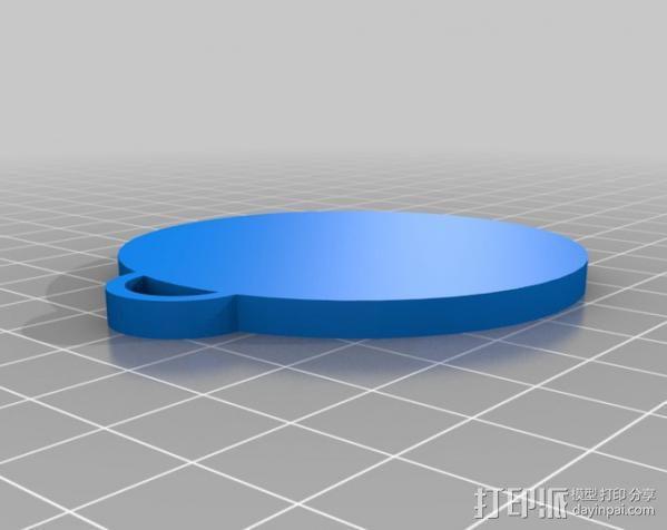 圆形吊坠 心形浮雕 3D模型  图2