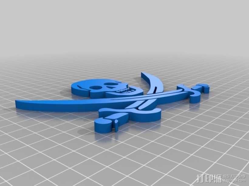 骷髅头和剑 3D模型  图2