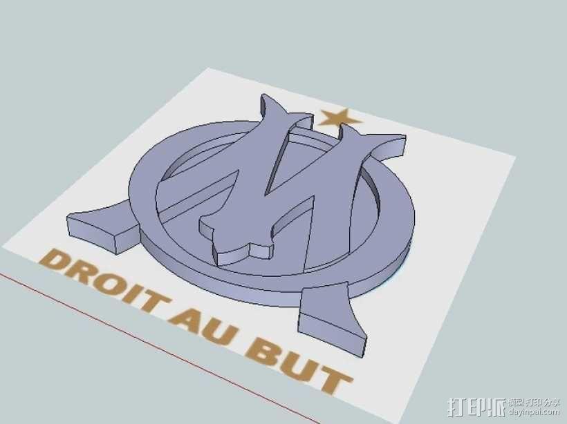 马赛足球俱乐部 标志 3D模型  图1
